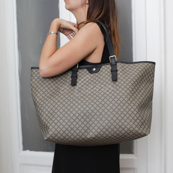 GUCCI SHOPPER DIAMANTE CRYSTAL GRIGIO E TESTA DI MORO