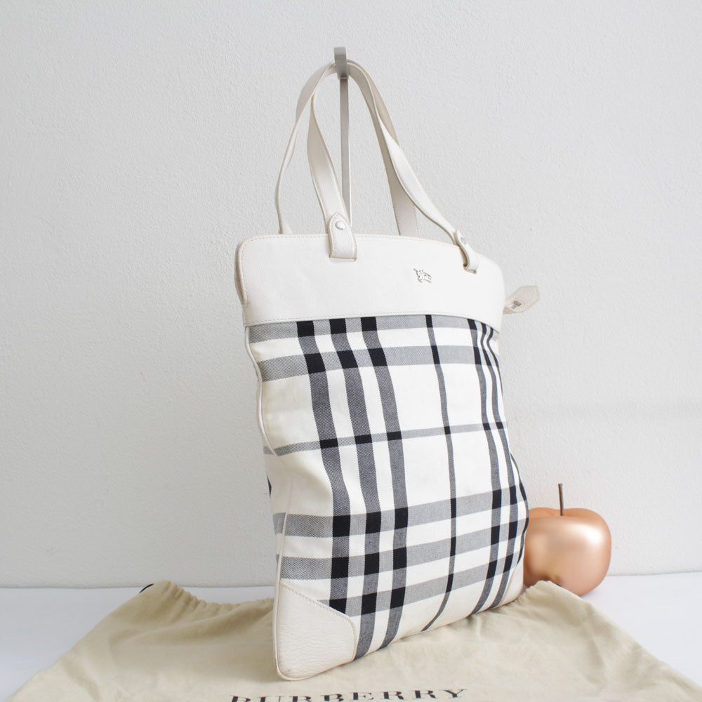 BURBERRY SHOPPER CHECK E BIANCA