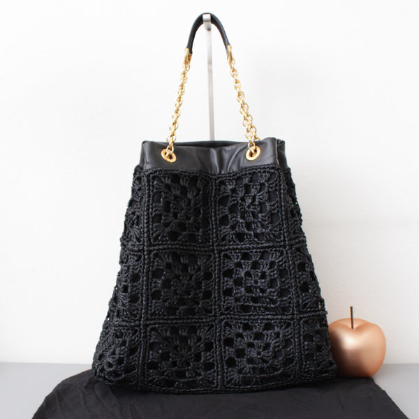 DOLCE & GABBANA SHOPPER CON CATENA IN RAFIA NERA