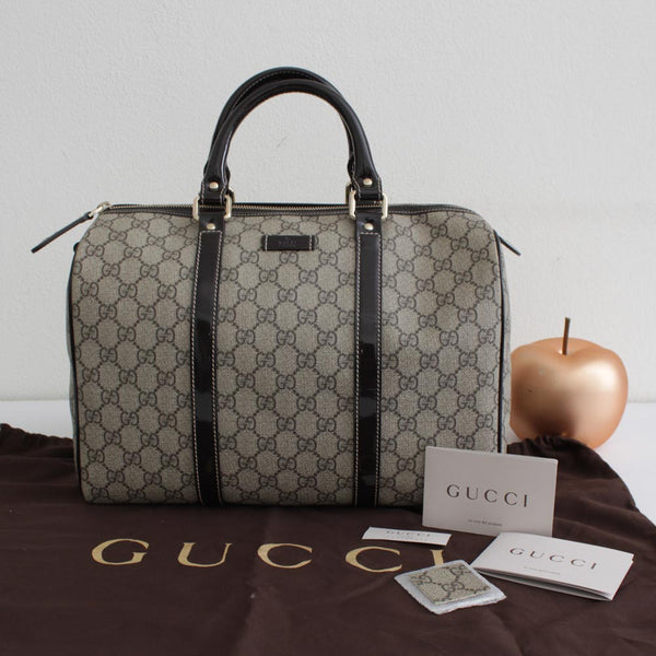 GUCCI JOY BOSTON IN TELA CRYSTAL GRIGIO E TESTA DI MORO