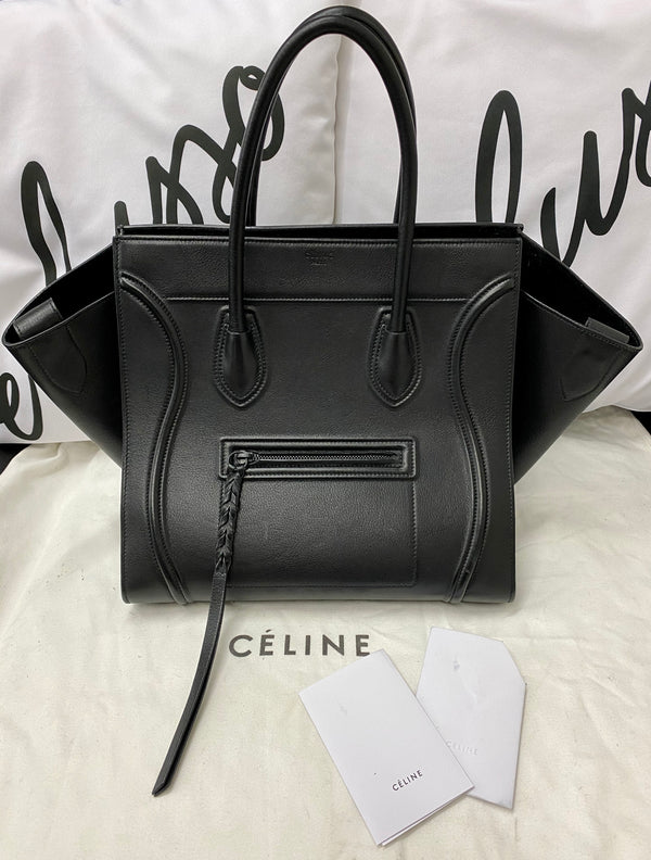 Celine Phantom Luggage in pelle nera