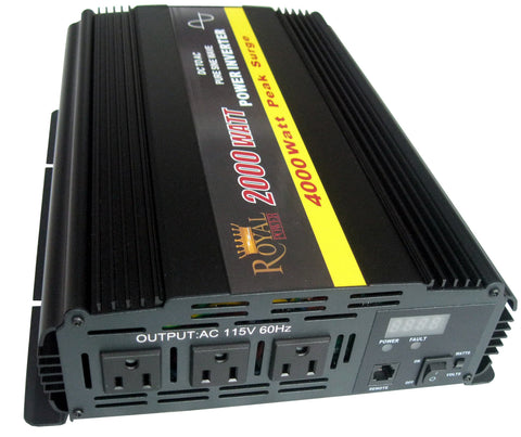 Pure Sine 2000 Watt Power Inverters 12 Volt DC to 120V AC