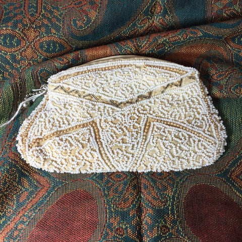 Vintage Beaded Clutch Purse White Gray 1920s Zip Close