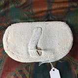 Vintage Beaded Clutch Purse White Gray 1920s Loop Back Snap Close