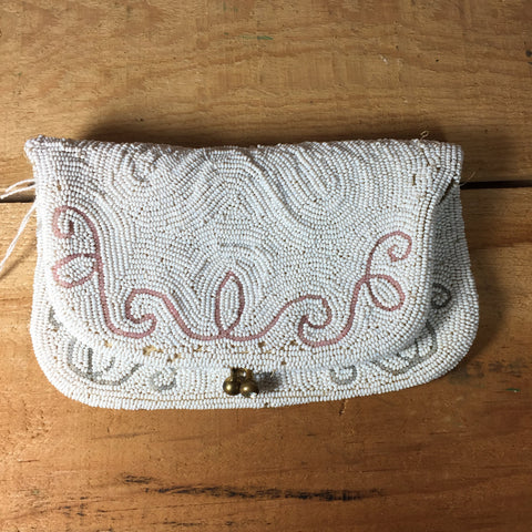 Vintage Beaded Clutch Purse Handbag 1920s Snap Close White Seed Beads