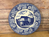 Flow Blue Style Antique Plate The Old Mill Spring Hill Village Indiana Staffordshire Ware Adams 10""