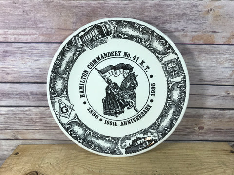 Freemason Scottish Rite Hamilton Commandery No. 41 K.T. Collector Plate 100th Anniversary 1986