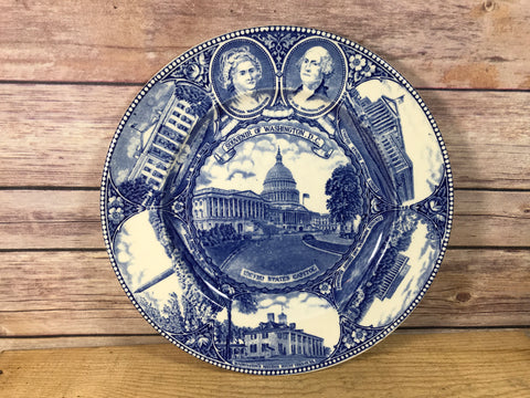 Flow Blue Style Antique Plate The Washington Plate D.C. Souvenir Staffordshire Ware Adams 10""