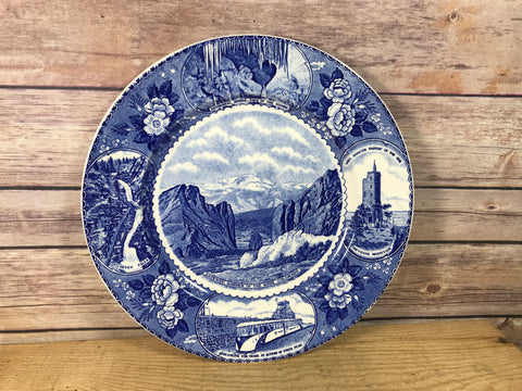 Flow Blue Style Antique Plate Souvenir of Pikes Peak Region Colorado Staffordshire Ware Adams 10""