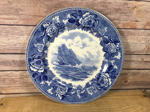 Flow Blue Style Antique Plate Washington Bicentennial Plates 1932 NSDAR Old Ironsides In Chase Wedgwood