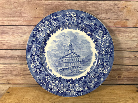 Flow Blue Style Antique Plate Faneuil Hall Wedgwood Etruria England 10""