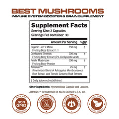 BEST MUSHROOMS - Immune Support & Brain Supplement