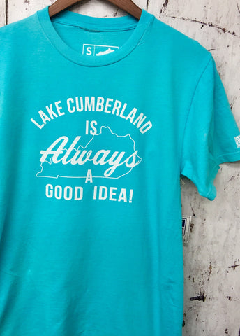 Always Lake Cumberland Teal Tee