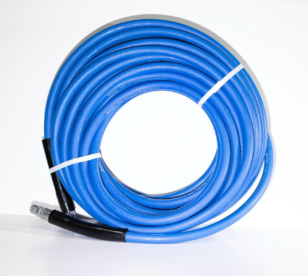 "1/4"" Continental/Goodyear blue neptune non marking pressure washer and carpet cleaning hose with fittings"