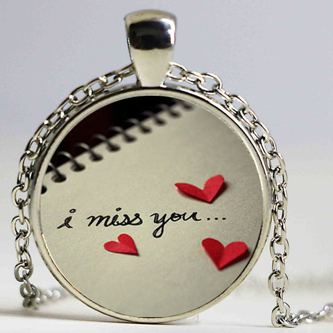 I miss you glass dome pendant necklace my husband in heaven i miss you glass dome pendant necklace aloadofball Image collections