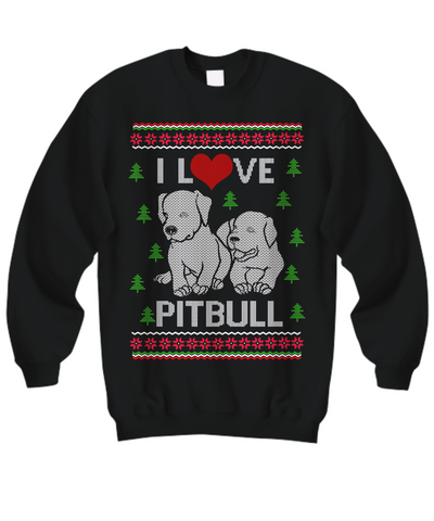 i love pitbull ugly christmas sweater