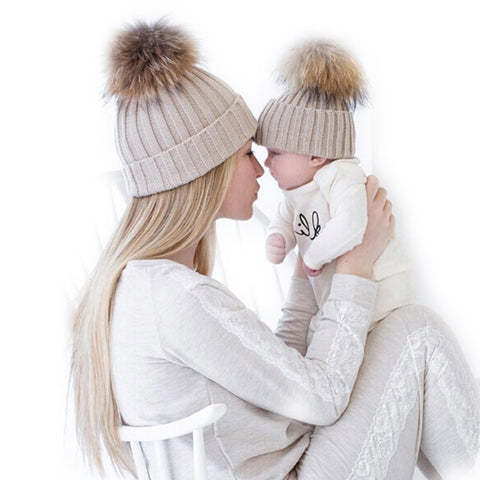 2 PCS MOTHER & BABY WARM WINTER KNITTED CROCHET CAP