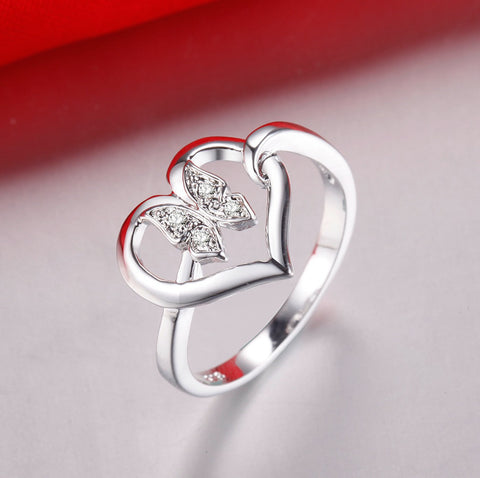 7bc2f2cb6 Love Heart Butterfly Ring · Love Heart Butterfly Ring ...