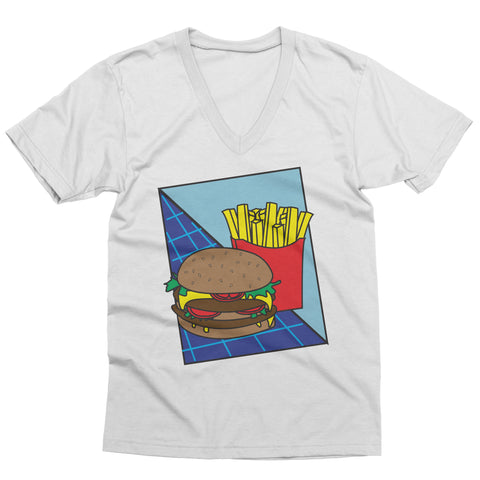 Burger and Fries Retro V-Neck