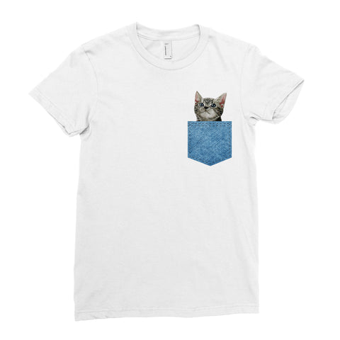 Cat Denim Pocket T-Shirt