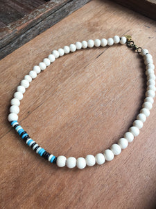 Wood Bead Bone Choker