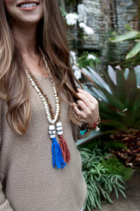 Wood Bead Silk Tassel Necklace