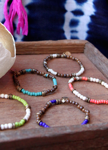 Wood Bead Single Bracelet