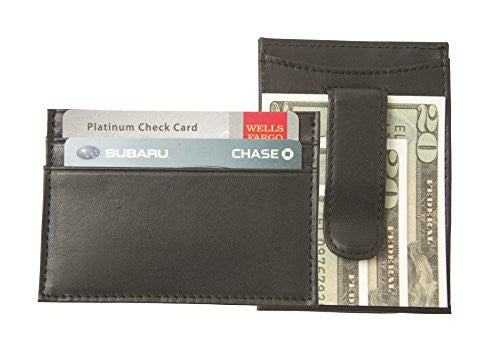 WC-812 Leather Money Clip and Card Holder - Black Top Grain Cowhide