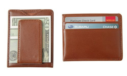 SW-936-T Leather Magnetic Money Clip Wallet - British Tan Top Grain Cowhide
