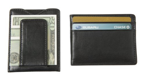 SW-936 Leather Magnetic Money Clip Wallet - Black Top Grain Cowhide