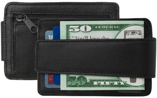 SG-104 DeepPocket Leather Money Clip Wallet with Zippered Coin/Token Pocket