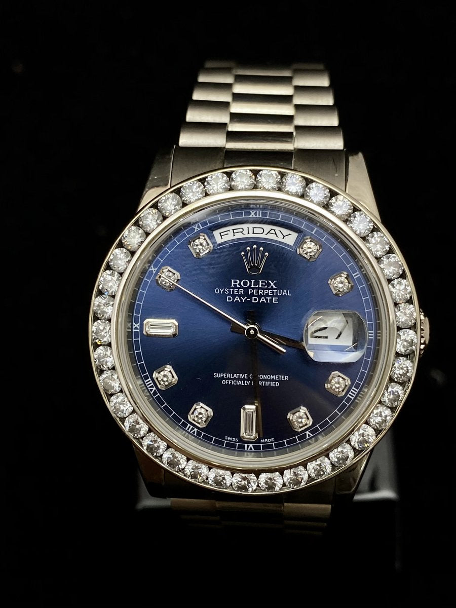 Rolex, Oyster Perpetual Day-Date, w/ a blue ombré face and diamond-set dial and bezel