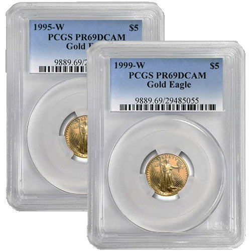 1/10 oz Proof American Gold Eagle Coin PCGS PR69 DCAM (Random Year)