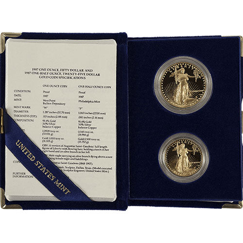 1.5 oz 2-Coin Proof American Gold Eagle Set (Random Year, Box + CoA)