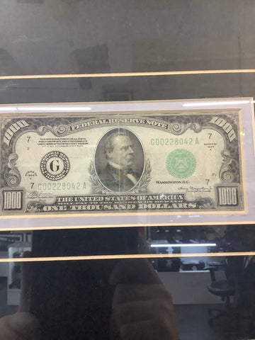 $1000 BILL-SERIES 1934A- HIGH GRADE CONDITION- COMES WITH ORNATE WOODEN FRAME-$5K VALUE