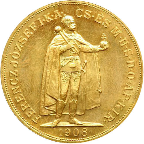 1908 Hungary 100 Korona Gold Coin (AU)