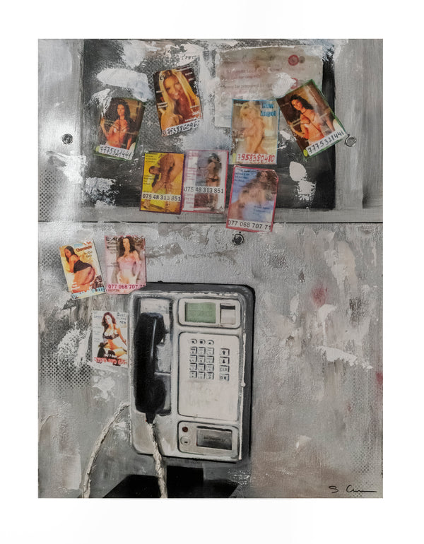 Sandrine Comas, 'London Phone,' Mixed Media on Canvas, Contemporary - Appraisal Value: $6K!