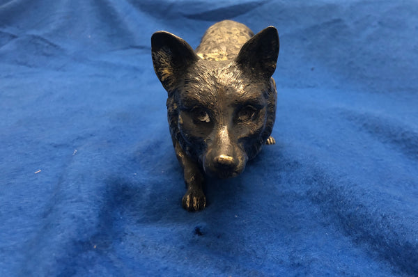 JEAN L. SCHLINGLOFF Large Sly Fox Figurine Statue Marked Circa 1910s in German Silver - $25K VALUE *
