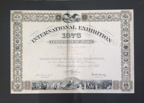 1876 Centennial International Exhibition Certificate of Award- $1.5K VALUE