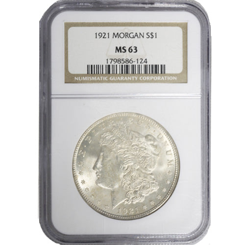 1921 Morgan Silver Dollar Coin NGC MS63