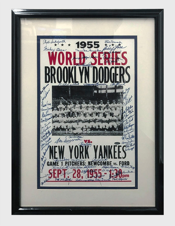 DODGERS / YANKEES Original 1955 World Series Autographed Poster - $10K APR Value w/ CoA! +✓
