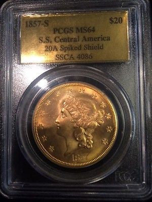 1857-S $20 Gold Lib - S.S. Central America 20C Narrow Seriff - MS-64 PCGS