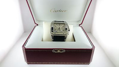 Cartier Men's Santos 100 Chronograph Jumbo Wristwatch in Stainless Steel - $10K VALUE