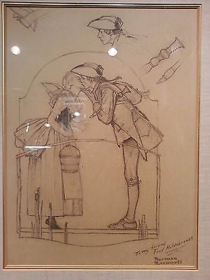 "Norman Rockwell, Pencil Sketch of ""The Milkmaid"", Extremely Rare - $400K Apr. Value*"