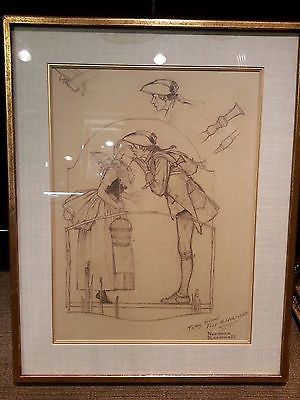 "Extremely Rare Original Norman Rockwell Pencil Sketch of ""The Milkmaid"" - $400K VALUE"