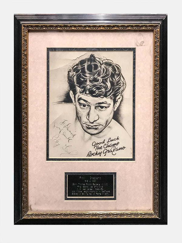 ROCKY GRAZIANO Framed 1950s Autographed Portrait - $10K APR Value w/ CoA!
