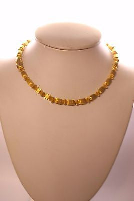 Greek Designer Necklace with Unique Textured Cylinder Motif in 18K Yellow Gold - $15K VALUE