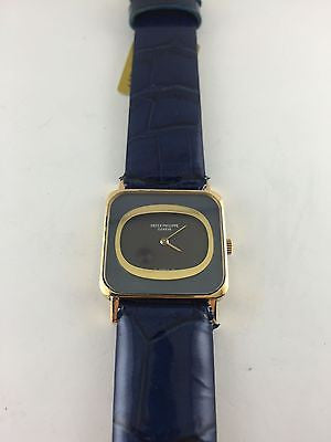 PATEK PHILIPPE 18K Yellow Gold Wristwatch w/ Rare Blue Dial on Leather Strap - $40K VALUE
