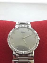 Piaget Men's 18K White Gold Wristwatch with Diamond Covered Bezel & Diamond Markers - $50K VALUE