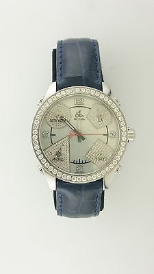 Jacob & Co. Extra Large Unisex 5 Time Zones Watch in Stainless Steel with Diamond Covered Bezel & Mother of Pearl Dial - $25K VALUE